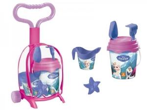 Troller cu ghiozdanel Frozen Mondo pentru copii cu jucarii plaja si galetusa