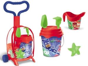 Troller cu ghiozdanel Pj Masks Mondo pentru copii cu jucarii plaja si galetusa