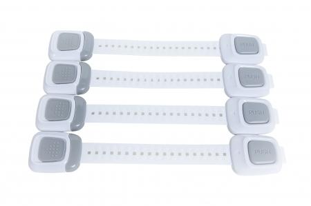 SET 4 sigurante flexibile cu incuietoare dubla pentru usi si sertare, 25 cm0