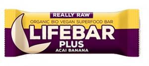 Lifebar Plus Baton Cu Acai Si Banane Raw Bio 47 g Lifefood
