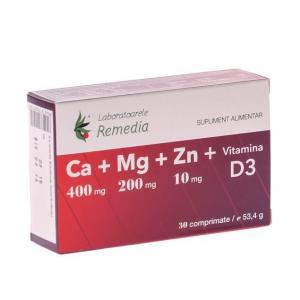 Ca+Mg+Zn+D3 30 cpr Remedia