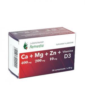 Ca+Mg+Zn+D3 50 cpr Remedia