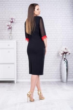 Rochie eleganta de zi cu broderie Aurora, negru/rosu2