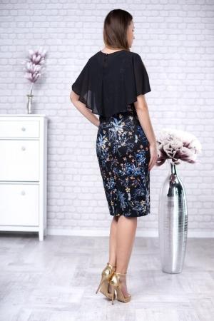 Rochie midi de ocazie cu imprimeu floral Linda, negru2