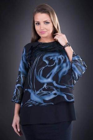 Bluza dama eleganta XXL din voal Doina, negru/albastru0