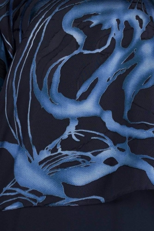 Bluza dama eleganta XXL din voal Doina, negru/albastru1