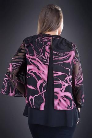 Bluza dama eleganta XXL din voal Doina, negru/roz