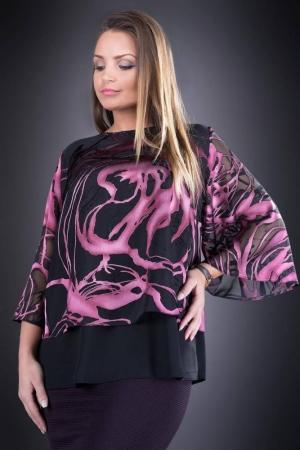 Bluza din voal imprimat marimi mari Doina, negru/roz
