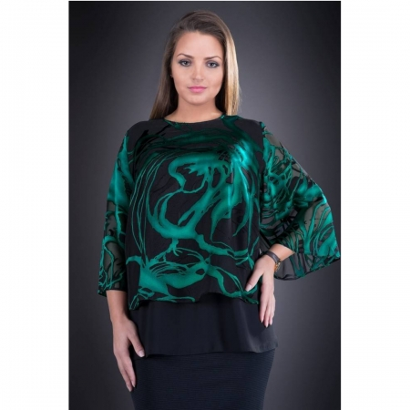 Bluza din voal imprimat marimi mari Doina, negru/verde