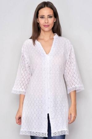 Bluza tip tunica de vara din bumbac cu broderie, alb0