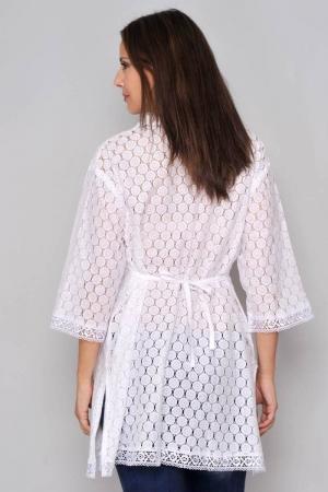 Bluza tip tunica de vara din bumbac cu broderie, alb2