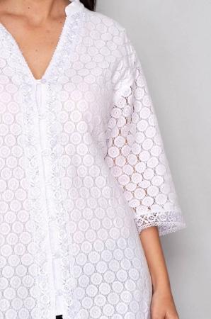 Bluza tip tunica de vara din bumbac cu broderie, alb3