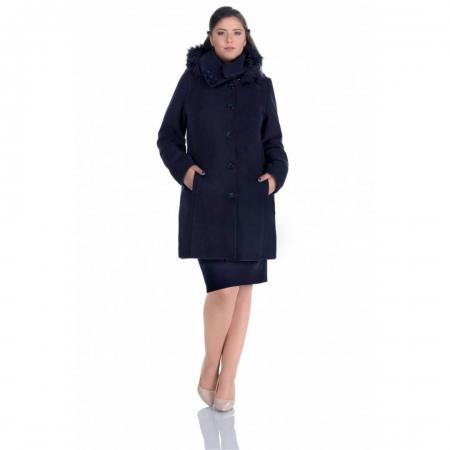 Palton cu gluga imblanita ZENOVIA, bleumarin