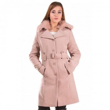 Palton de iarna cu guler imblanit Marina, cappuccino