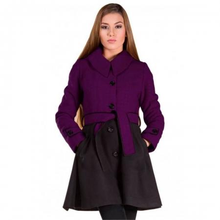 Palton scurt cu gluga, dama, inchidere nasturi, mov/negru