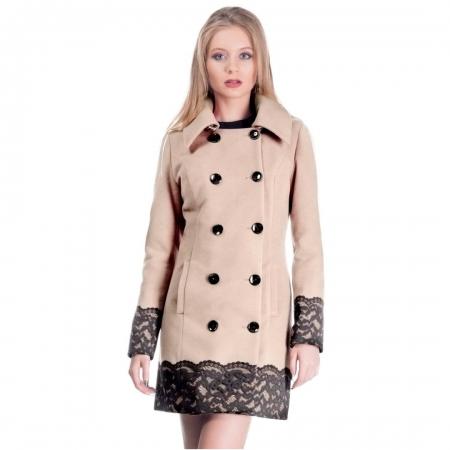 Palton scurt elegant CEZARA, aplicatie dantela, bej1