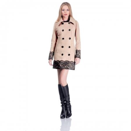 Palton scurt elegant CEZARA, aplicatie dantela, bej