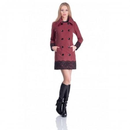 Palton elegant CEZARA, aplicatie dantela, caramiziu