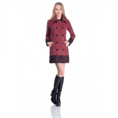 Palton scurt elegant CEZARA, aplicatie dantela, caramiziu