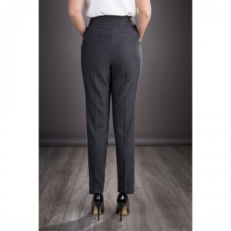 Pantaloni eleganti din stofa Roxana, gri inchis