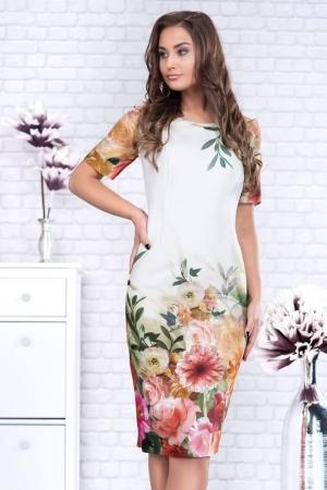 Rochie casual cu imprimeu floral Oana, alb/floral1