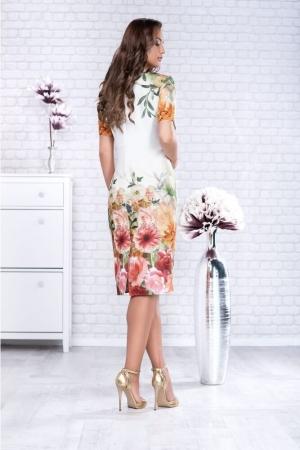 Rochie casual cu imprimeu floral Oana, alb/floral2