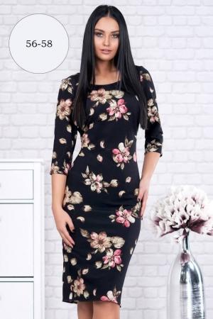Rochie clasica de zi cu imprimeu floral Ariela, negru2