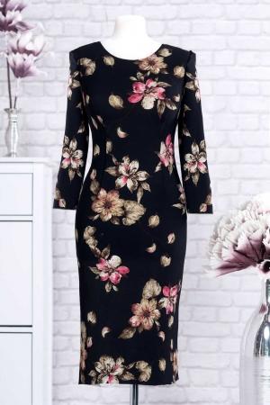 Rochie clasica de zi cu imprimeu floral Ariela, negru3