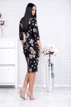 Rochie clasica de zi cu imprimeu floral Ariela, negru1