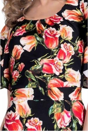 Rochie cu imprimeu trandafiri Alberta, negru/rosu2