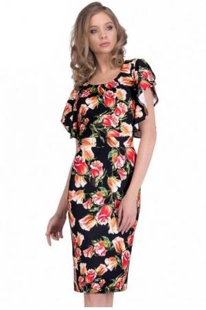 Rochie cu imprimeu trandafiri Alberta, negru/rosu1