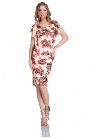 Rochie cu imprimeu trandafiri Alberta, orange0