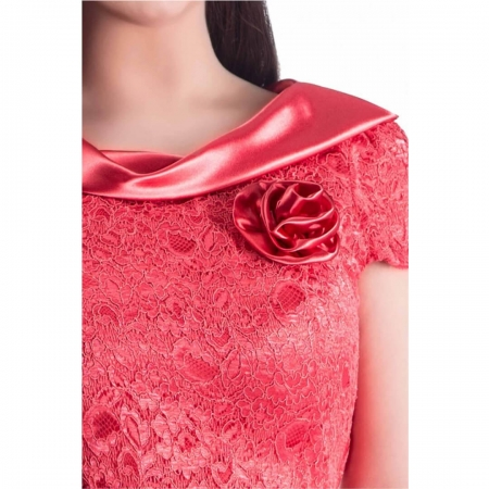 Rochie de ocazie din dantela si saten Gabriela, coral