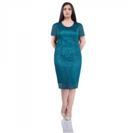 Rochie de ocazie din dantela si saten Grace, turquoise