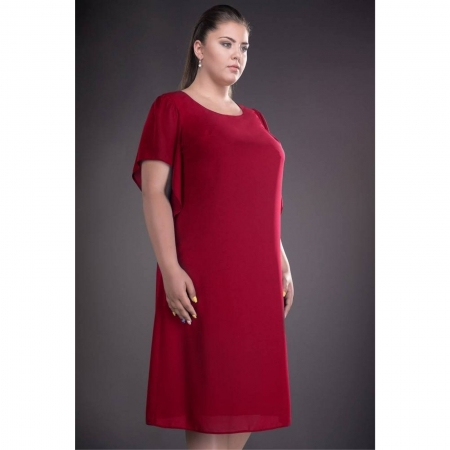 Rochie de ocazie din voal marimi mari Casiana, rosu
