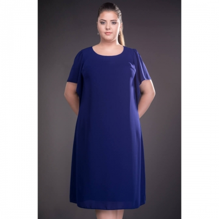 Rochie de ocazie din voal marimi mari Casiana, albastru regal