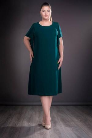 Rochie de ocazie din voal marimi mari Casiana, verde inchis0
