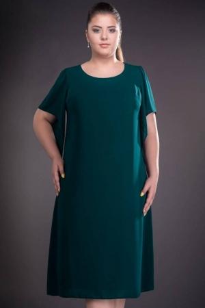 Rochie de ocazie din voal marimi mari Casiana, verde inchis1