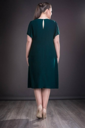 Rochie de ocazie din voal marimi mari Casiana, verde inchis2