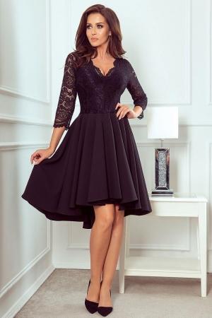Rochie de seara asimetrica din dantela Nicolle, negru0