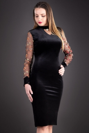 Rochie de seara din catifea cu broderie Iris, negru1