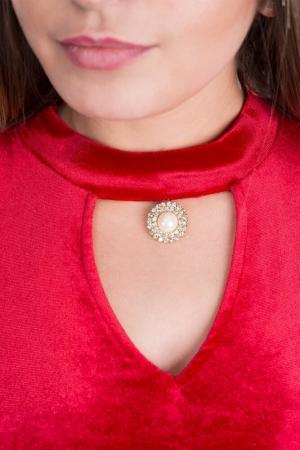 Rochie de seara din catifea cu broderie Iris, rosu3