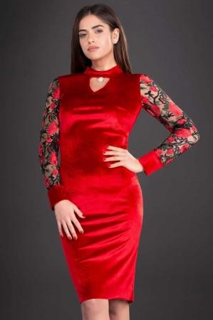 Rochie de seara din catifea cu broderie Iris, rosu1