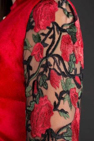 Rochie de seara din catifea cu broderie Iris, rosu