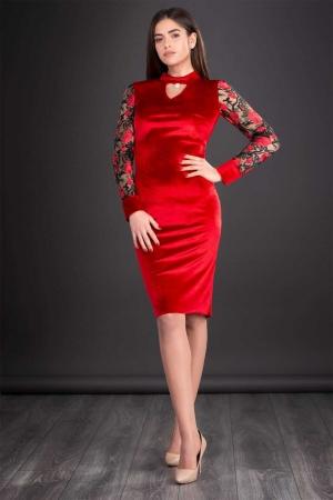 Rochie de seara din catifea cu broderie Iris, rosu0