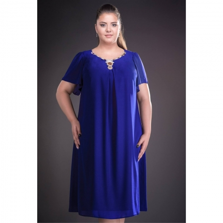 Rochie de seara din voal marimi mari Renata, albastru1