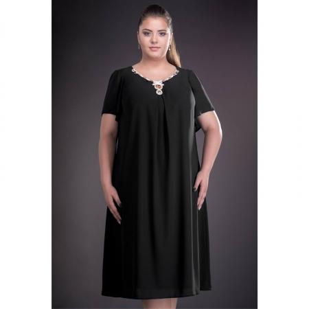 Rochie de seara din voal marimi mari Renata, negru1