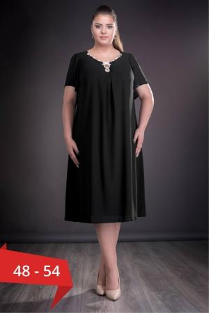 Rochie de seara din voal marimi mari Renata, negru0