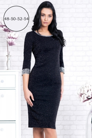 Rochie de seara marimi mari Amina, negru/argintiu2