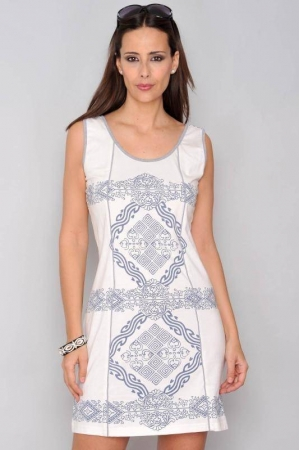 Rochie de vara din bumbac cu imprimeu HHG Spania, alb0